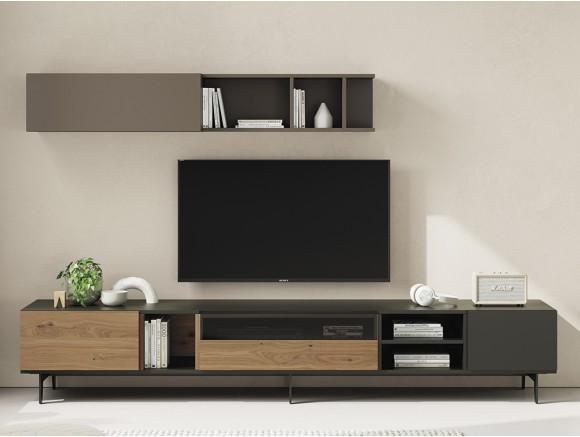 Composición para salón con mueble bajo en chapa de roble y marengo y un módulo galería con puerta Vive
