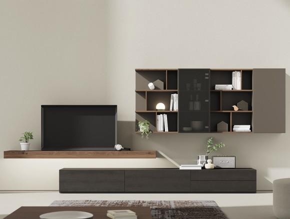 composición para salón con estante con luz, cargador para móvil y estantería colgada irregular Vive
