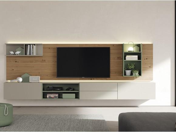 mueble suspendido para salón con panel trasero y cargador para móvil Vive