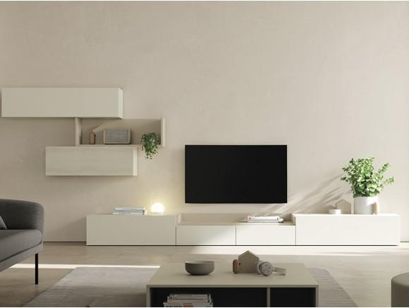 composición para salón con mueble bajo y galerías con puerta con frente cerámico on de vive