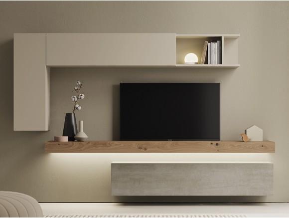 composición de salón con módulo bajo suspendido, estante con luz y galería superior on de vive