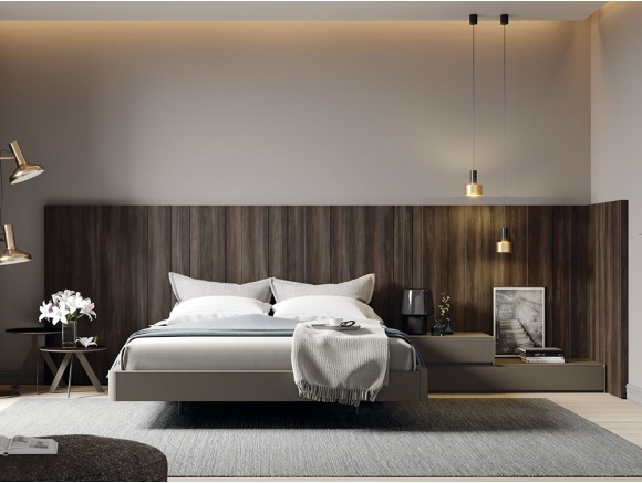 Dormitorio con cabecero modelo AV y laterales AW en acabado moscato Zona Noche