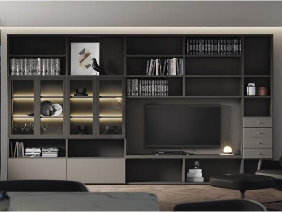 Mueble de salón con librería y vitrinas con iluminación interior Addbox