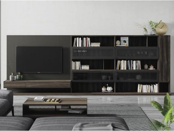 Mueble de salón con vitrinas y panel para tv Addbox