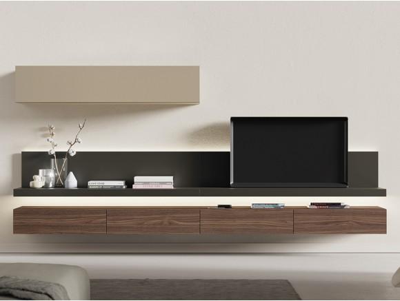 Composición para salón con mueble bajo suspendido en chapa natural y galerías on de vive
