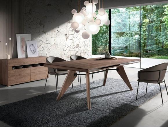 Mesa fija de madera chapada...