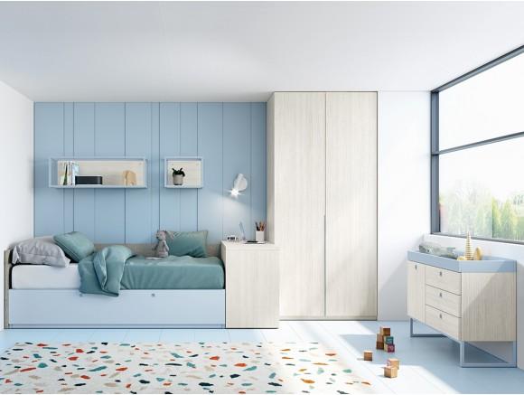 Dormitorio con cama nido y...